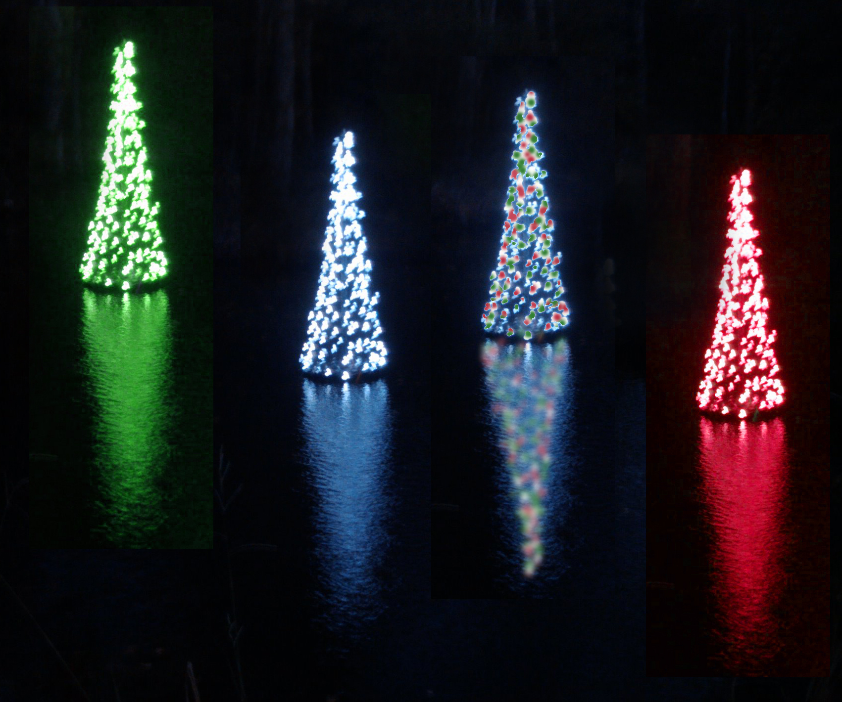 These newly innovated Floating Christmas Trees are lighted entirely