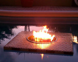 floating firepit on water